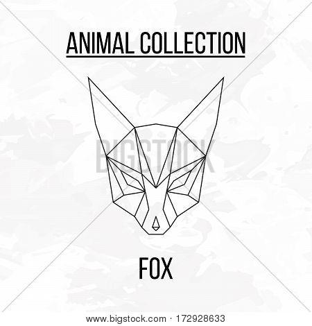 Geometric animal fox head isolated on white background