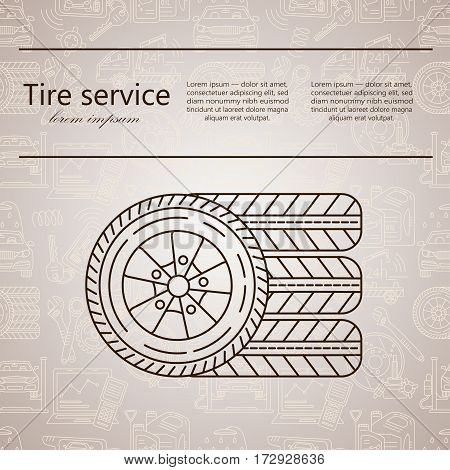 Vector logo - tire services Thin line vector icon.