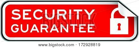 Red peel off sticker wording security guarantee with lock icon