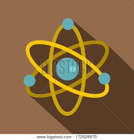 Atom icon. Flat illustration of atom vector icon for web isolated on coffee background
