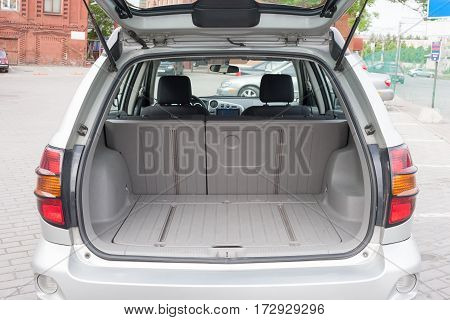 Close up view of a luggage compartment of a hatchback car