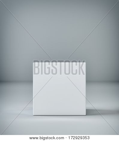Empty room with a pedestal for presentation. 3d rendering