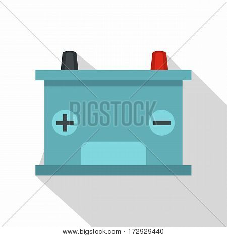 Blue battery car icon. Flat illustration of blue battery car vector icon for web isolated on white background