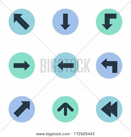 Set Of 9 Simple Indicator Icons. Can Be Found Such Elements As Upward Direction, Downwards Pointing, Right Direction And Other.
