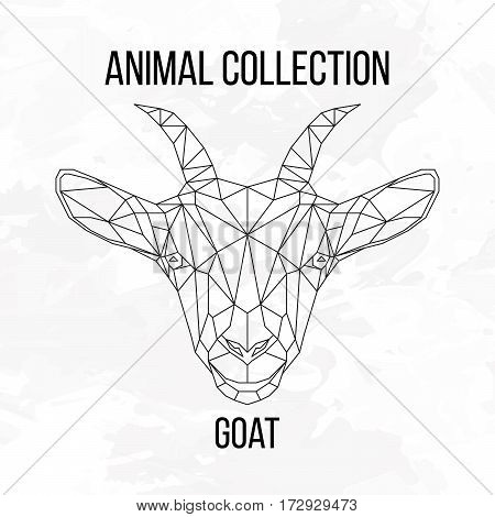 Goat head geometric lines silhouette isolated on white background vintage design element