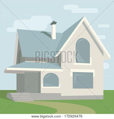 vector illustration of a house on nature