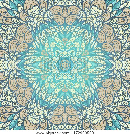 Hand drawn ethnic floral beige and blue ornamental pattern