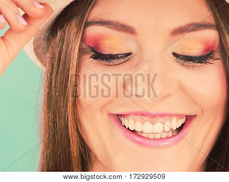 Woman Face Colorful Eyes Makeup, Summer Straw Hat Smiling