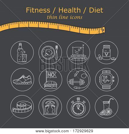Weight Loss, Diet icons set. Fitness and health collection. Thin line design. Vector pictograms.