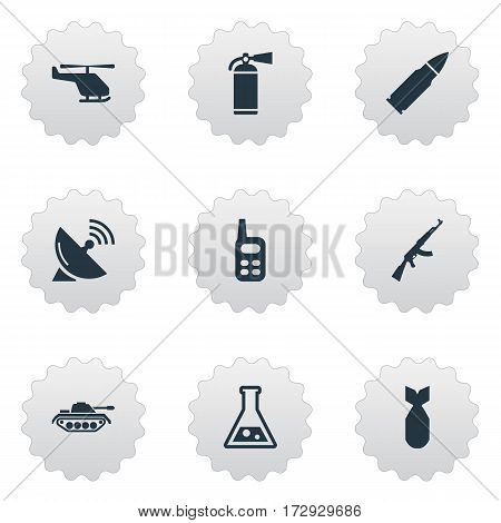 Set Of 9 Simple Army Icons. Can Be Found Such Elements As Signal Receiver, Heavy Weapon, Extinguisher And Other.