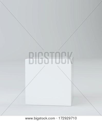 Empty round pedestal for display. Platform for design. 3D rendering