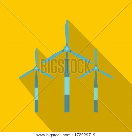 Wind turbine icon. Flat illustration of wind turbine vector icon for web isolated on yellow background