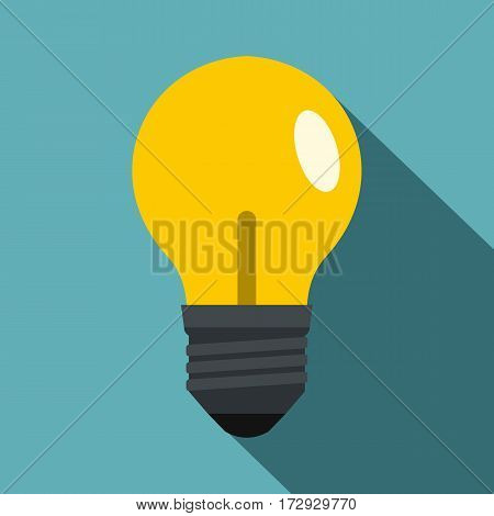 Yellow light bulb icon. Flat illustration of yellow light bulb vector icon for web isolated on baby blue background