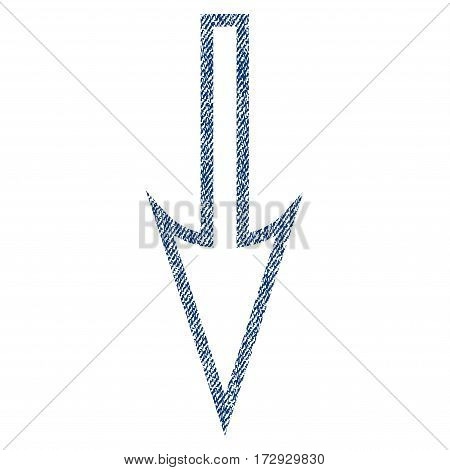 Sharp Arrow Down vector textured icon for overlay watermark stamps. Blue jeans fabric vectorized texture. Symbol with scratched design. Blue ink rubber seal stamp with fiber textile structure.