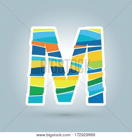 Vector abstract M geometric letter logo template. Overlapping transparent wave elements composition