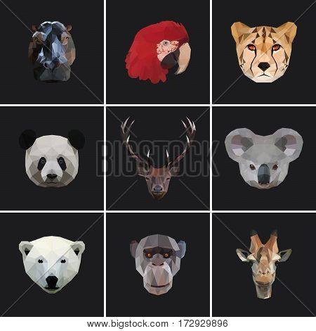 Geometric colored animal set isolated silhouette designed on dark background. Animal pack. Polygonal animal. Geometric animal. Animal colored. Poly animal.