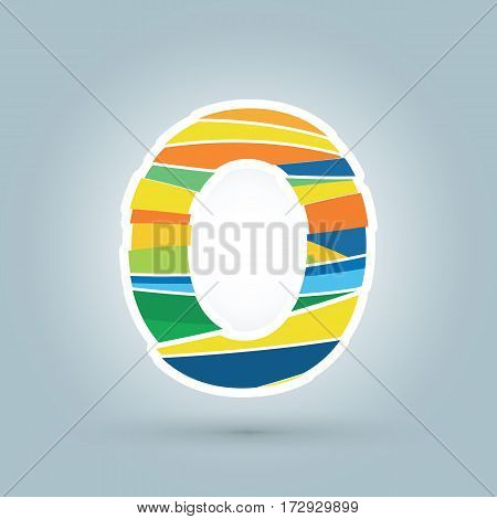 Vector abstract O geometric letter logo template. Overlapping transparent wave elements composition