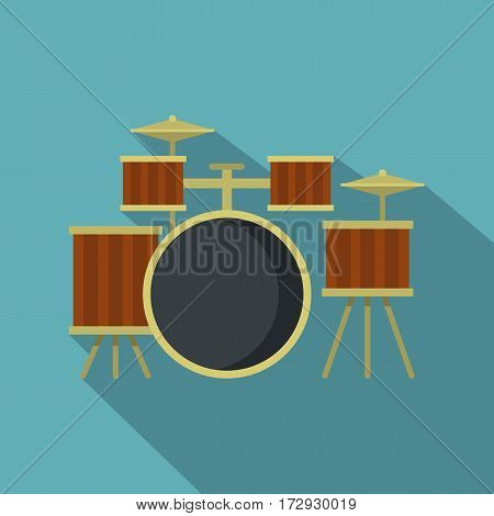Drum setting icon. Flat illustration of drum setting vector icon for web isolated on baby blue background