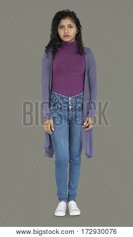 Young Lady Standing Serious Focused