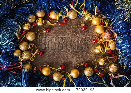 Frame of Christmas toys on table. Celebrate the New Year. Flat lay top view copyspace