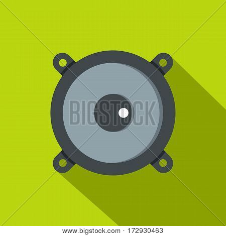 Frontal audio speaker icon. Flat illustration of frontal audio speaker vector icon for web isolated on lime background