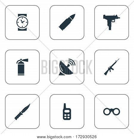 Set Of 9 Simple Military Icons. Can Be Found Such Elements As Signal Receiver, Ammunition, Cold Weapon And Other.