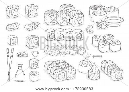 Traditional japanese seafood dishes. Hand drawn elements for menu design vector contour illustration collection.