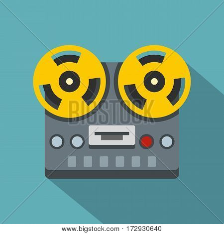 Vintage reel to reel tape recorder deck icon. Flat illustration of vintage reel to reel tape recorder deck vector icon for web isolated on baby blue background