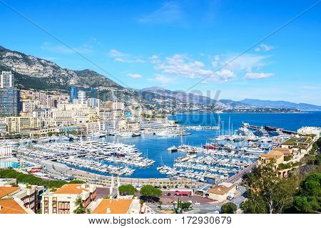 view of Monte Carlo harbour in Monaco.