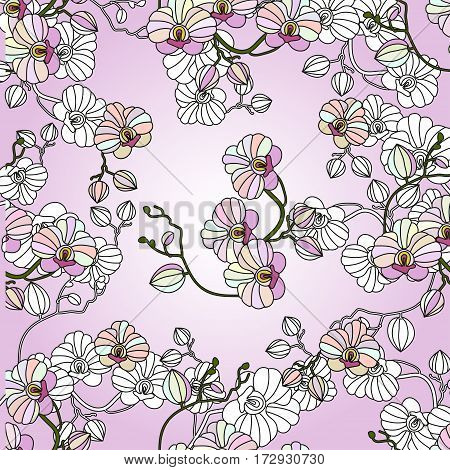 Vector seamless pattern with orchids. Can be used for Invitation to the wedding or background.