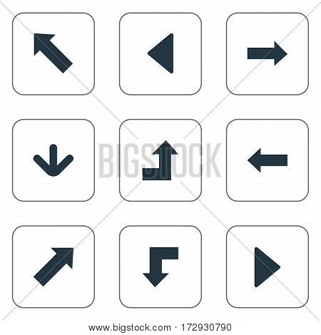 Set Of 9 Simple Indicator Icons. Can Be Found Such Elements As Left Direction , Right Direction , Left Landmark.