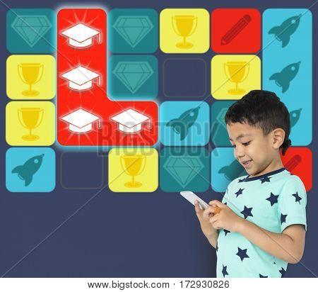 Education Mortarboard Spaceship Diamond Matching Game
