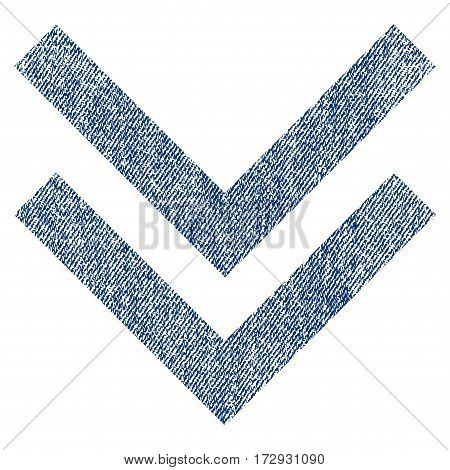 Shift Down vector textured icon for overlay watermark stamps. Blue jeans fabric vectorized texture. Symbol with unclean design. Blue ink rubber seal stamp with fiber textile structure.