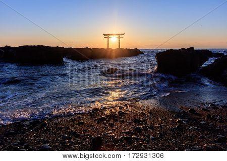 Japanese shrine gate in sunrise Ibaraki, yamanaka, japan