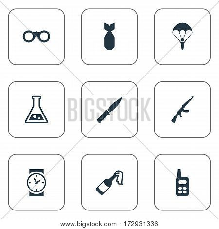 Set Of 9 Simple Army Icons. Can Be Found Such Elements As Molotov, Field Glasses, Nuke And Other.