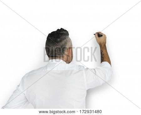 Businessman Writing Vision Strategy Planning