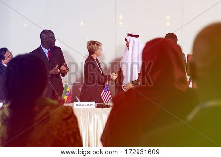 Business people deal together and handshaking