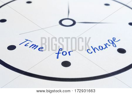 Phrase TIME FOR CHANGE on clock dial