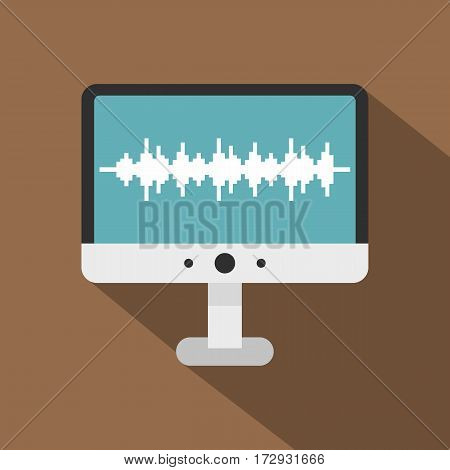 Audio technology monitor icon. Flat illustration of audio technology monitor vector icon for web isolated on coffee background