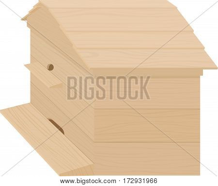 Wooden Beehive on a white background. Traditional hive. Cartoon illustration beehive