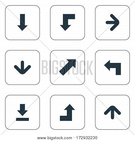 Set Of 9 Simple Pointer Icons. Can Be Found Such Elements As Reduction, Downwards Pointing, Increasing And Other.