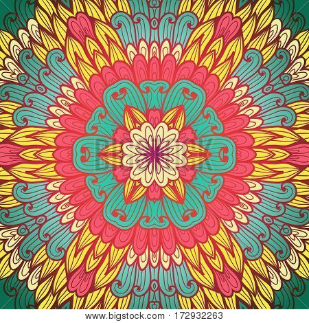 Hand drawn ethnic floral pink and yellow bright ornamental pattern