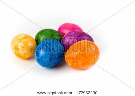 Easter eggs on a white background, Studio Shot