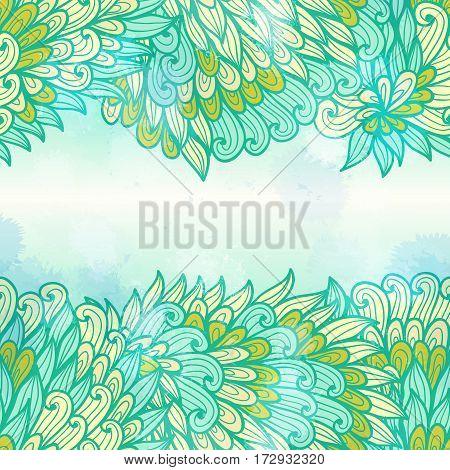Hand drawn seamless blue and green elegant invitation card design with swirls