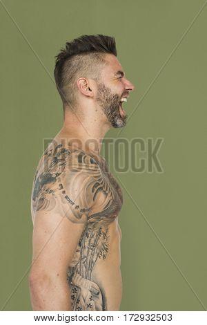 Adult Men Shirtless Tattoo Screaming Studio