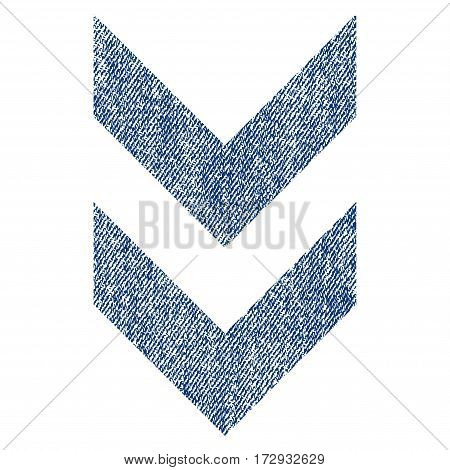 Shift Down vector textured icon for overlay watermark stamps. Blue jeans fabric vectorized texture. Symbol with scratched design. Blue ink rubber seal stamp with fiber textile structure.