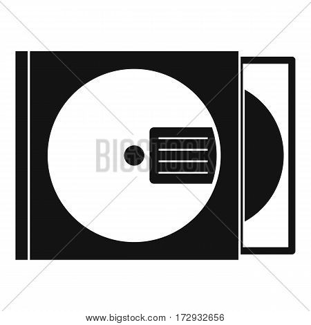 CD box with disc icon. Simple illustration of CD box with disc vector icon for web