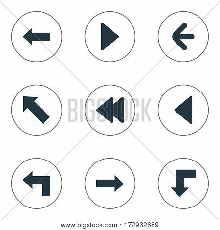 Set Of 9 Simple Cursor Icons. Can Be Found Such Elements As Pointer, Left Direction, Reduction And Other.
