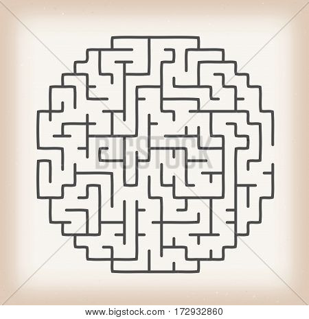 Illustration of a labyrinth pattern game inside grunge textured and vintage background