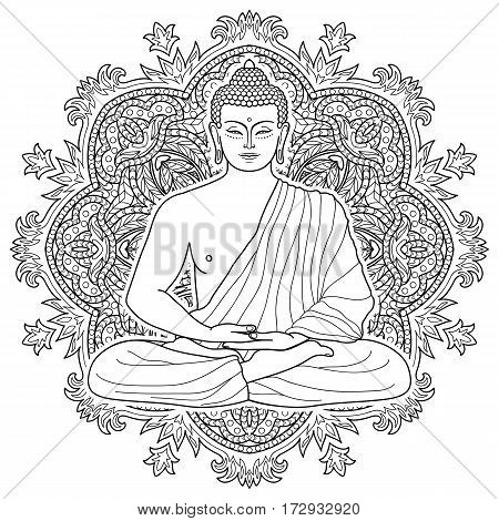 Sitting Buddha in Lotus position on mandala round background. Sign for tattoo, textile print, mascots and amulets. Esoteric coloring page.